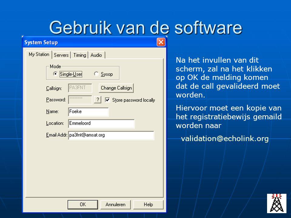 Gebruik van de software