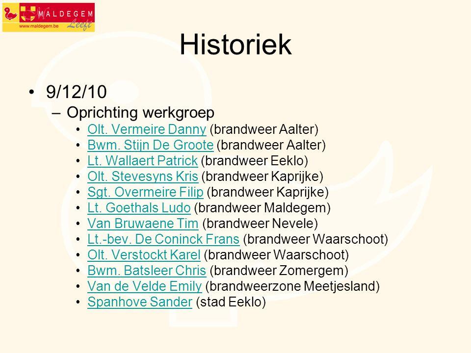 Historiek 9/12/10 Oprichting werkgroep