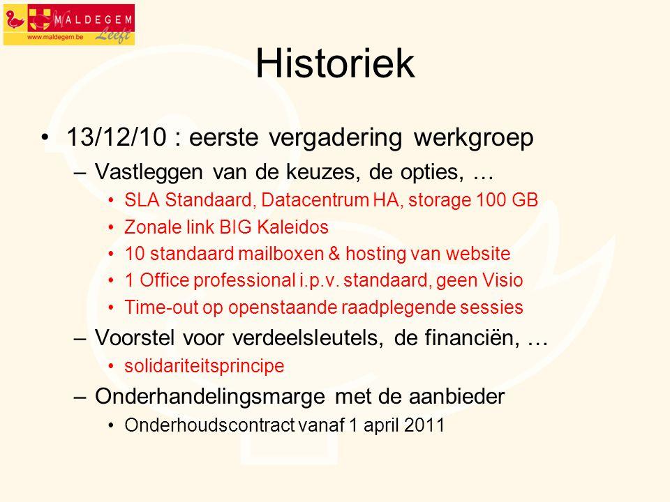 Historiek 13/12/10 : eerste vergadering werkgroep