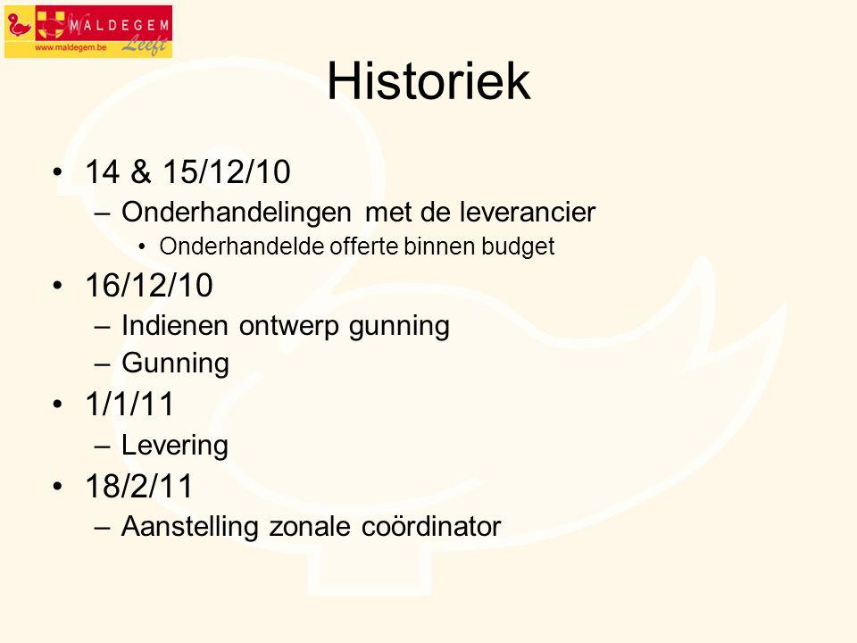 Historiek 14 & 15/12/10. Onderhandelingen met de leverancier. Onderhandelde offerte binnen budget.