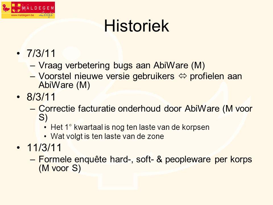 Historiek 7/3/11 8/3/11 11/3/11 Vraag verbetering bugs aan AbiWare (M)