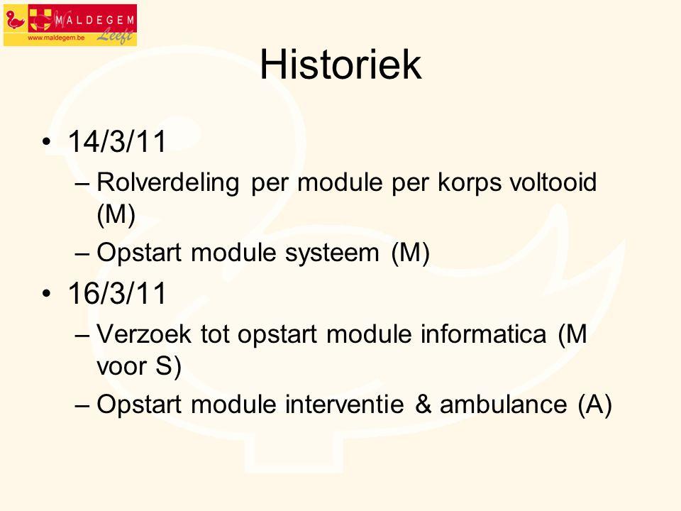 Historiek 14/3/11. Rolverdeling per module per korps voltooid (M) Opstart module systeem (M) 16/3/11.