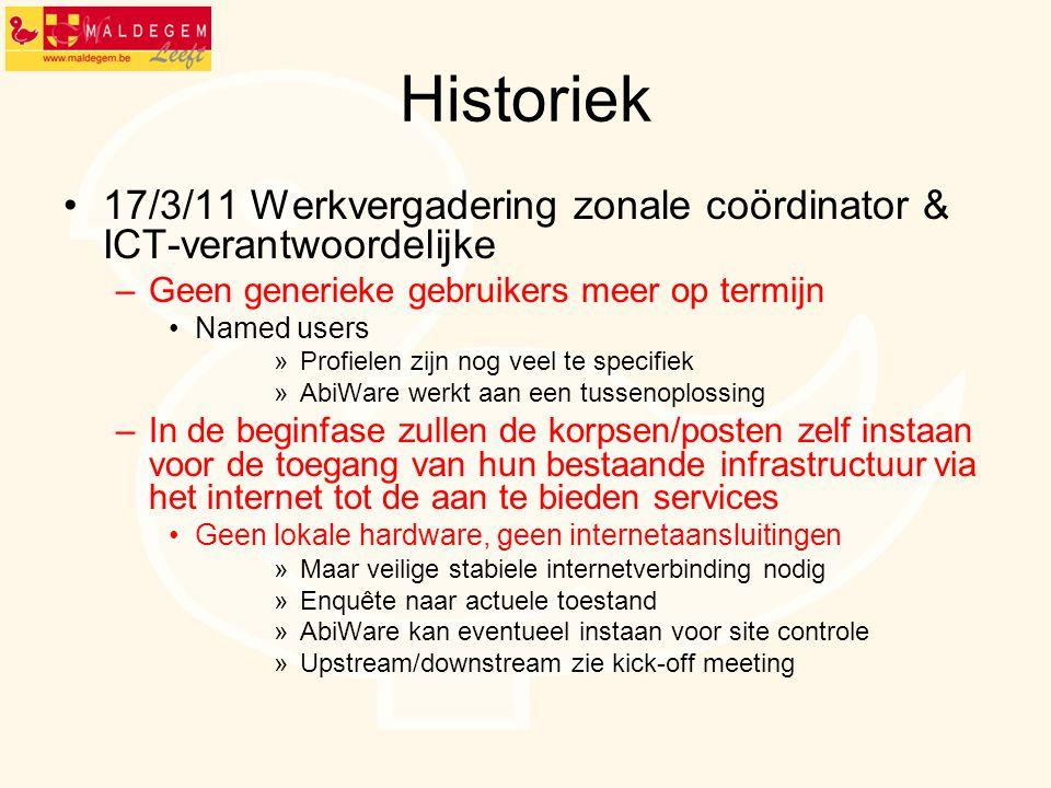 Historiek 17/3/11 Werkvergadering zonale coördinator & ICT-verantwoordelijke. Geen generieke gebruikers meer op termijn.