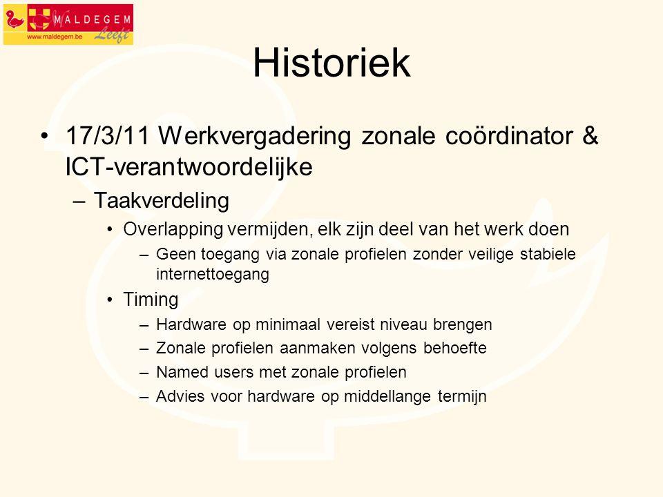 Historiek 17/3/11 Werkvergadering zonale coördinator & ICT-verantwoordelijke. Taakverdeling. Overlapping vermijden, elk zijn deel van het werk doen.