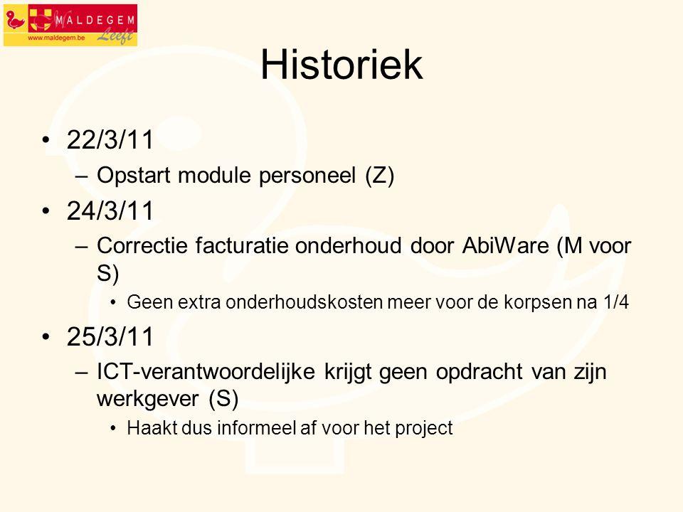 Historiek 22/3/11 24/3/11 25/3/11 Opstart module personeel (Z)