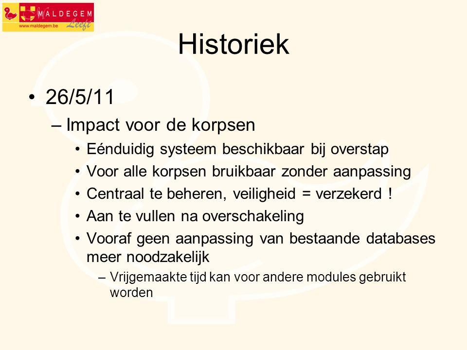 Historiek 26/5/11 Impact voor de korpsen