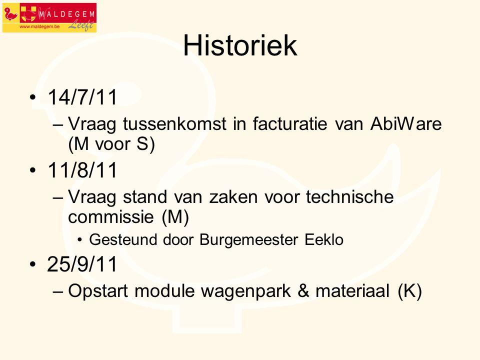 Historiek 14/7/11. Vraag tussenkomst in facturatie van AbiWare (M voor S) 11/8/11. Vraag stand van zaken voor technische commissie (M)