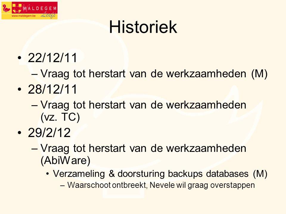 Historiek 22/12/11. Vraag tot herstart van de werkzaamheden (M) 28/12/11. Vraag tot herstart van de werkzaamheden (vz. TC)