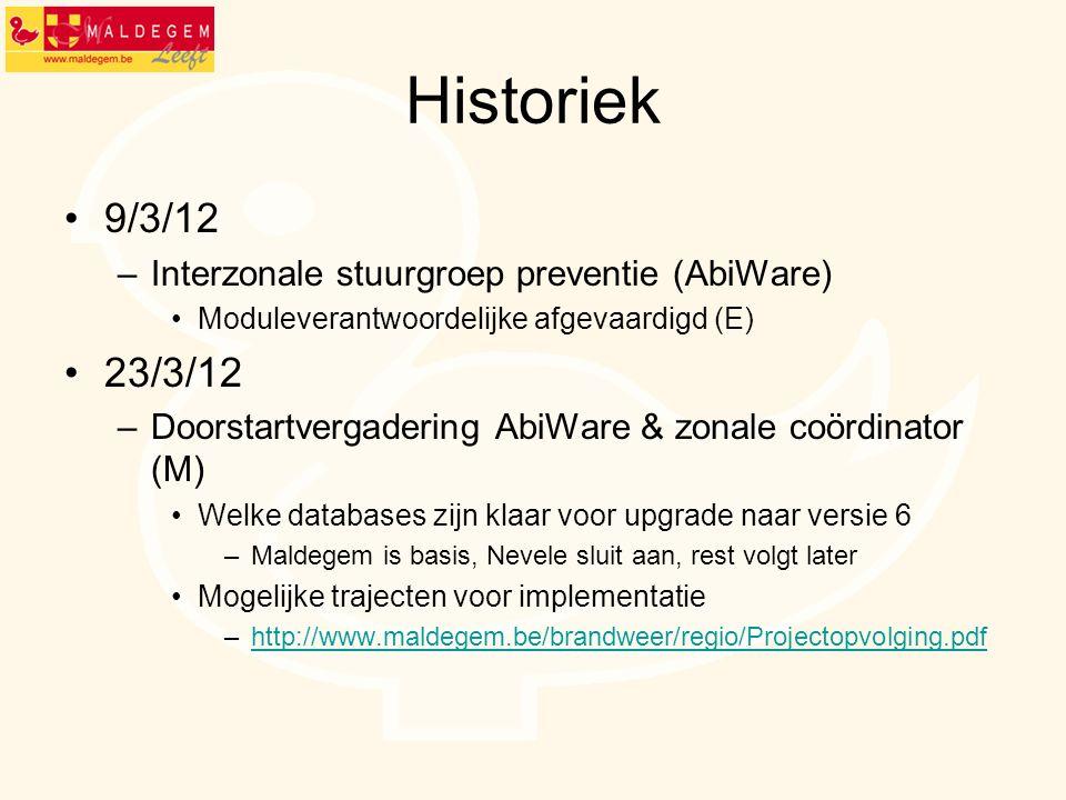 Historiek 9/3/12 23/3/12 Interzonale stuurgroep preventie (AbiWare)
