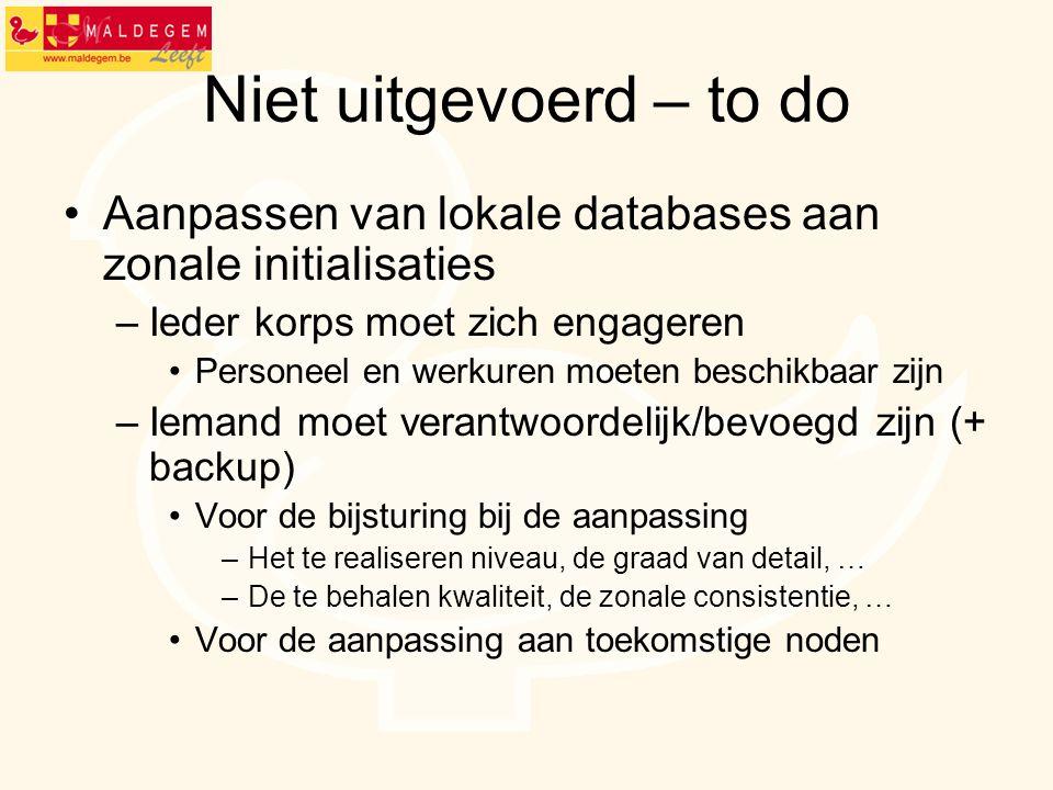Niet uitgevoerd – to do Aanpassen van lokale databases aan zonale initialisaties. Ieder korps moet zich engageren.