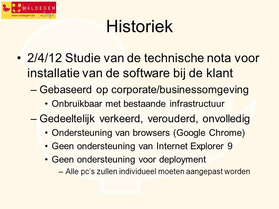 Historiek 2/4/12 Studie van de technische nota voor installatie van de software bij de klant. Gebaseerd op corporate/businessomgeving.