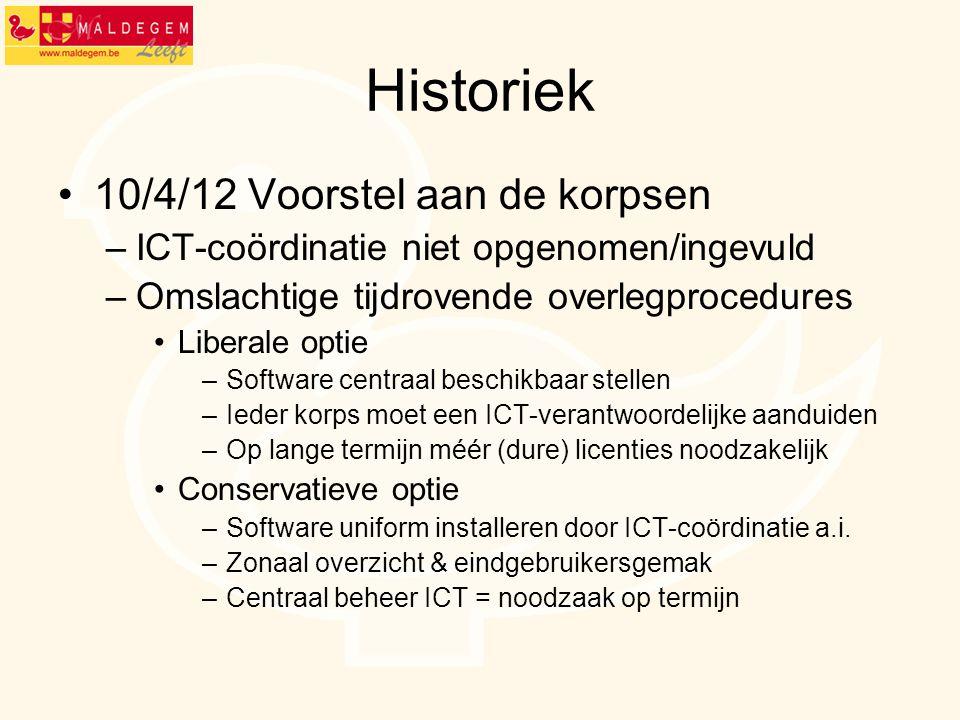 Historiek 10/4/12 Voorstel aan de korpsen