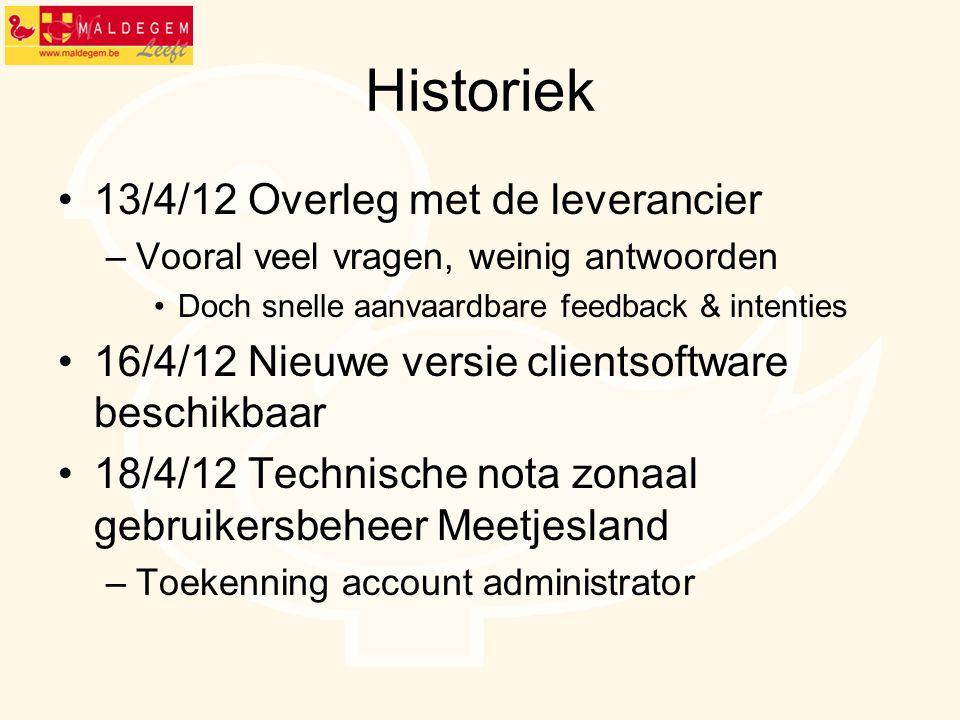 Historiek 13/4/12 Overleg met de leverancier