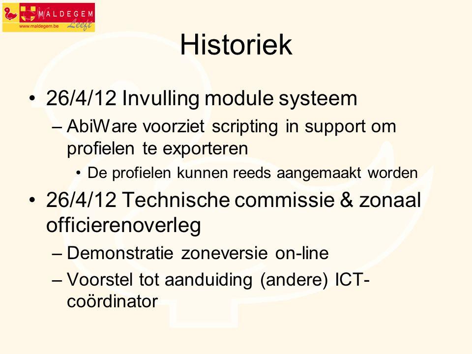 Historiek 26/4/12 Invulling module systeem