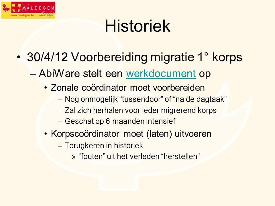 Historiek 30/4/12 Voorbereiding migratie 1° korps