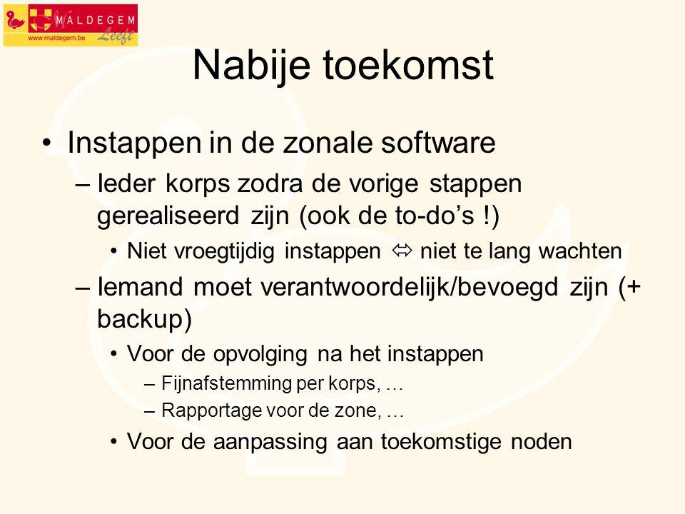 Nabije toekomst Instappen in de zonale software