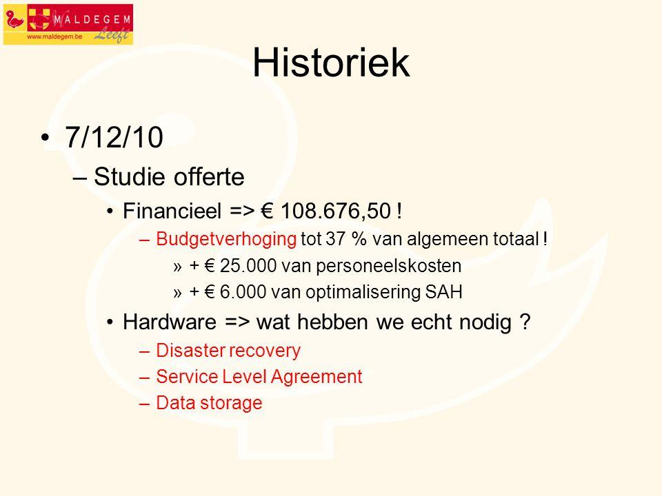 Historiek 7/12/10 Studie offerte Financieel => € 108.676,50 !