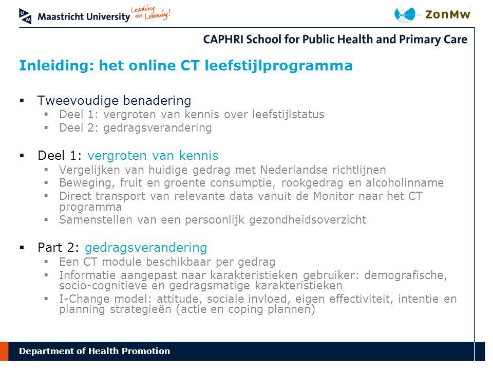 Inleiding: het online CT leefstijlprogramma