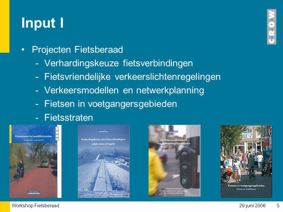 Input I Projecten Fietsberaad Verhardingskeuze fietsverbindingen