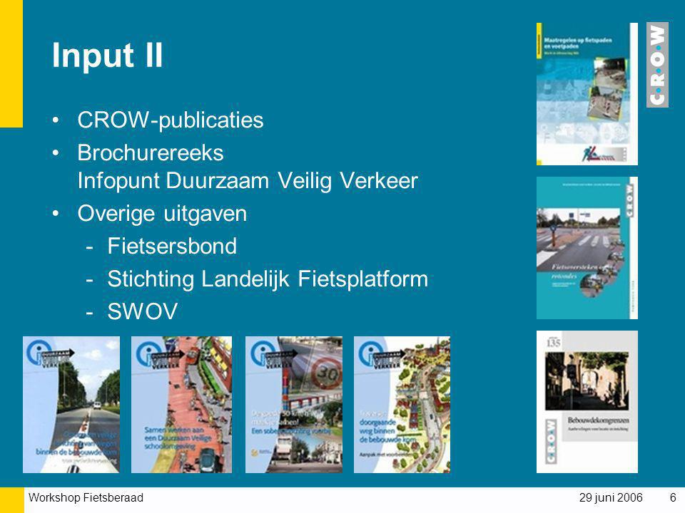 Input II CROW-publicaties