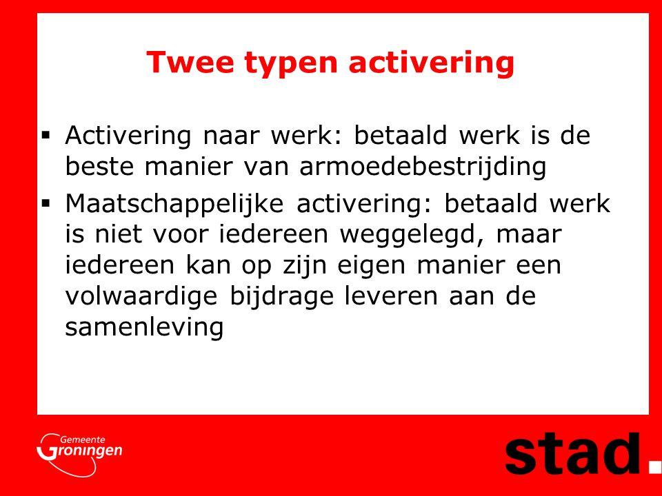 Twee typen activering Activering naar werk: betaald werk is de beste manier van armoedebestrijding.