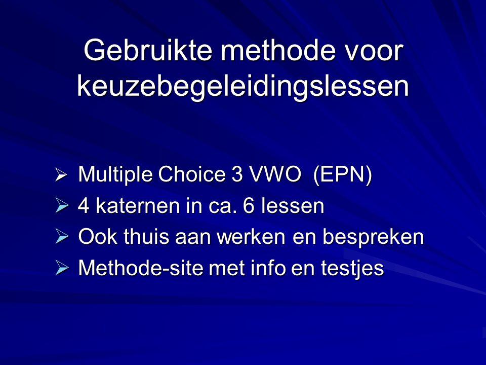Gebruikte methode voor keuzebegeleidingslessen