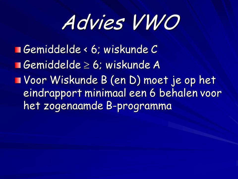 Advies VWO Gemiddelde < 6; wiskunde C Gemiddelde  6; wiskunde A
