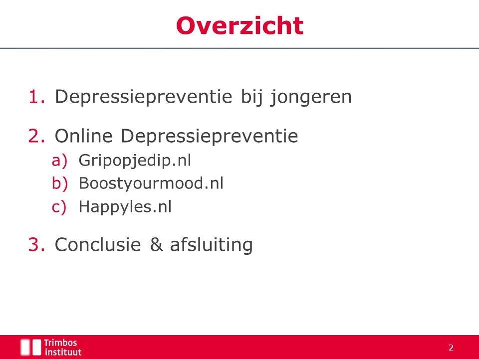 Overzicht Depressiepreventie bij jongeren Online Depressiepreventie