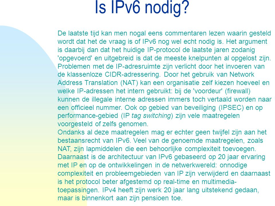 Is IPv6 nodig 04/04/12.
