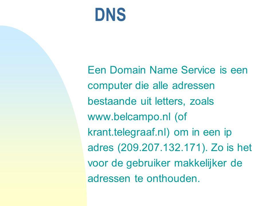 DNS Een Domain Name Service is een computer die alle adressen