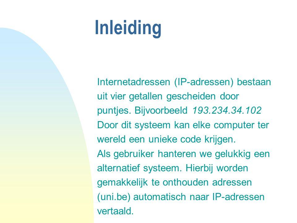 Inleiding Internetadressen (IP-adressen) bestaan