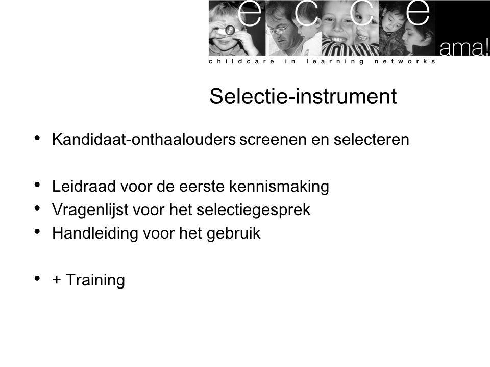 Selectie-instrument Kandidaat-onthaalouders screenen en selecteren