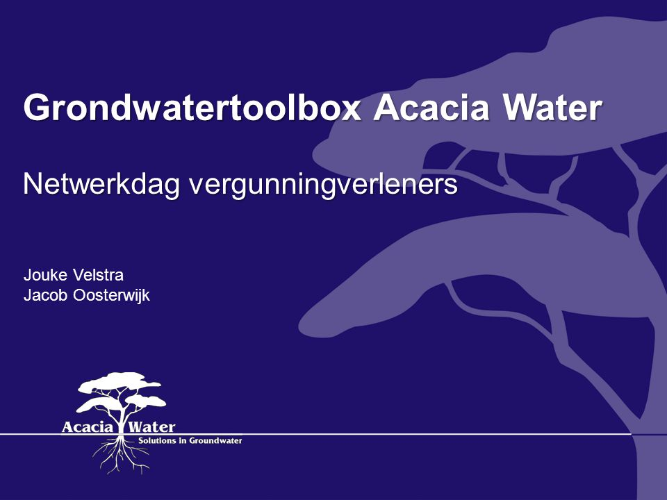 Grondwatertoolbox Acacia Water