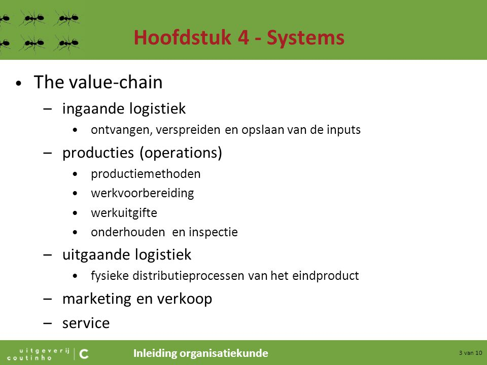 Hoofdstuk 4 - Systems The value-chain ingaande logistiek
