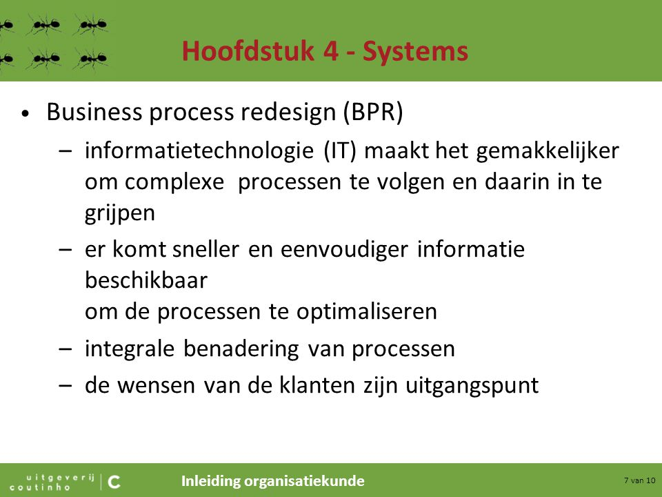 Hoofdstuk 4 - Systems Business process redesign (BPR)
