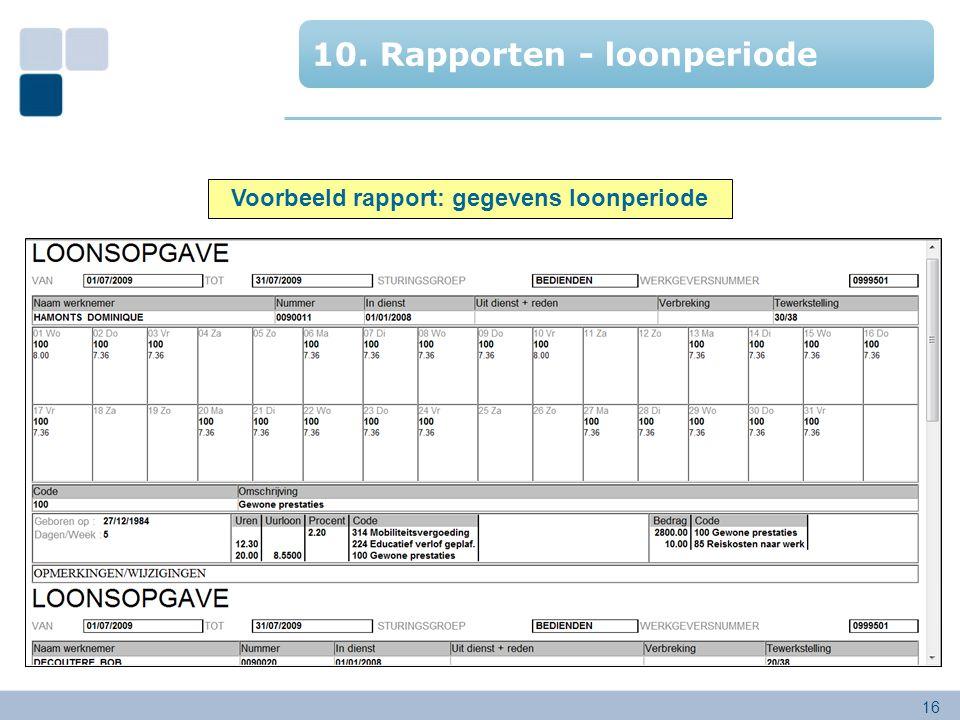 Voorbeeld rapport: gegevens loonperiode