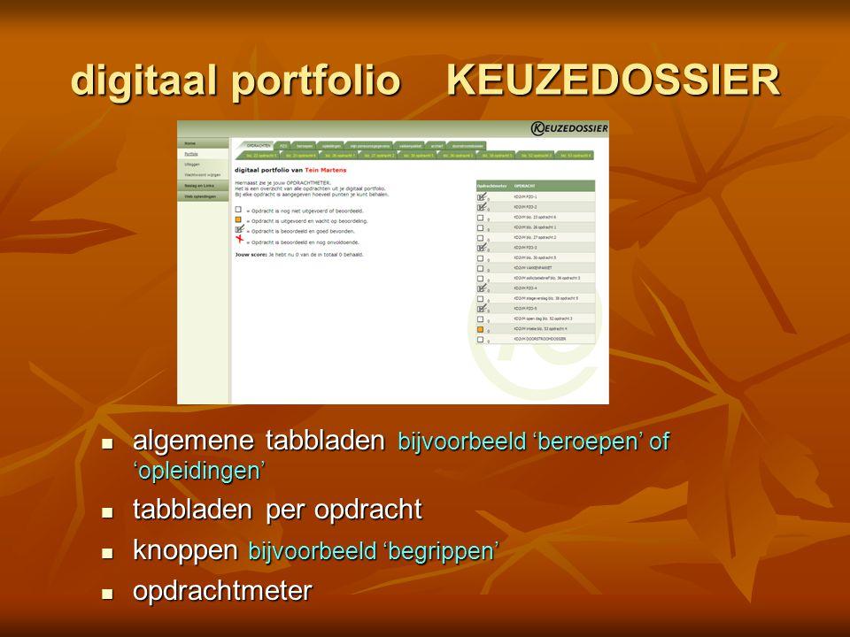 digitaal portfolio KEUZEDOSSIER
