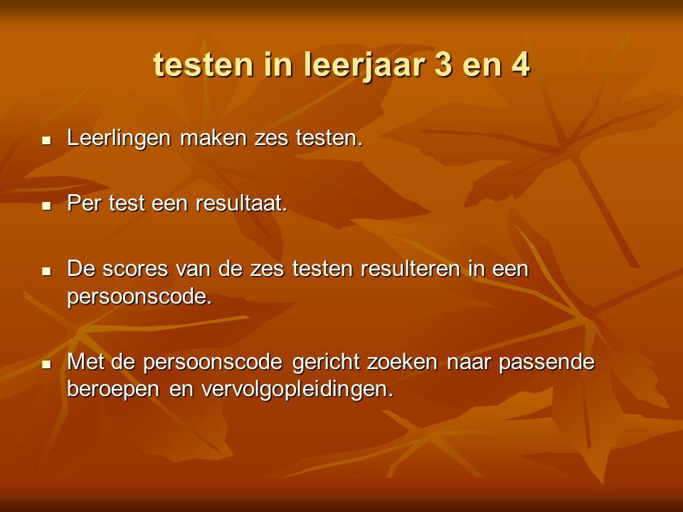 testen in leerjaar 3 en 4 Leerlingen maken zes testen.