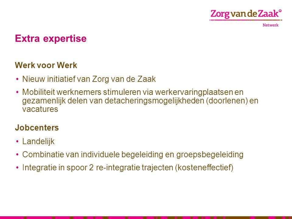 Extra expertise Werk voor Werk Nieuw initiatief van Zorg van de Zaak