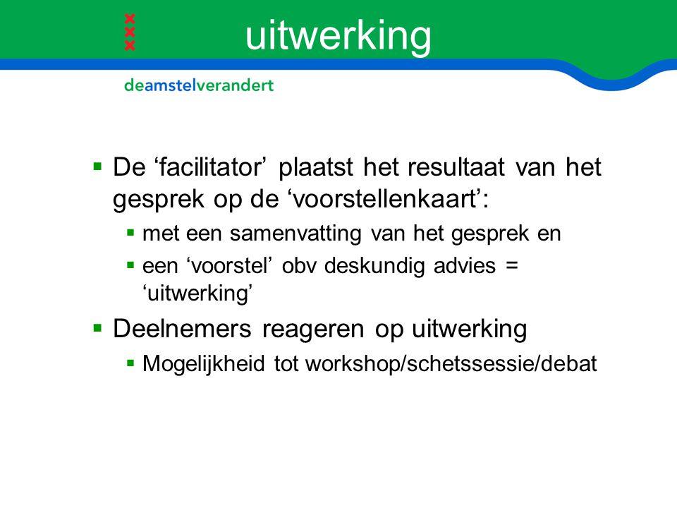uitwerking De 'facilitator' plaatst het resultaat van het gesprek op de 'voorstellenkaart': met een samenvatting van het gesprek en.