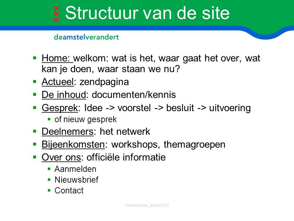 Structuur van de site Home: welkom: wat is het, waar gaat het over, wat kan je doen, waar staan we nu