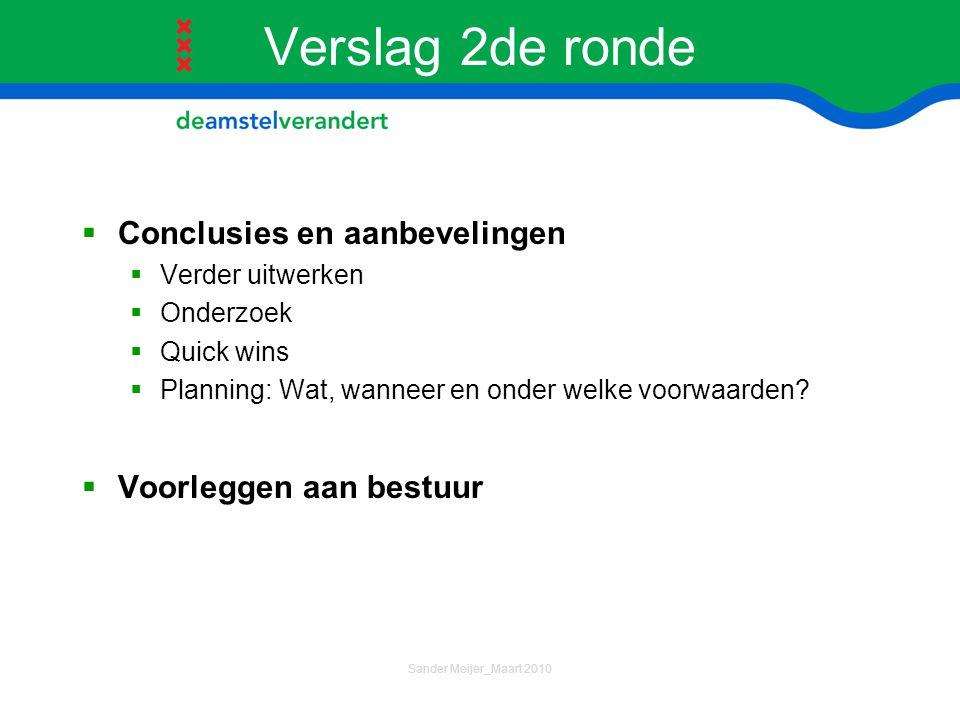 Verslag 2de ronde Conclusies en aanbevelingen Voorleggen aan bestuur