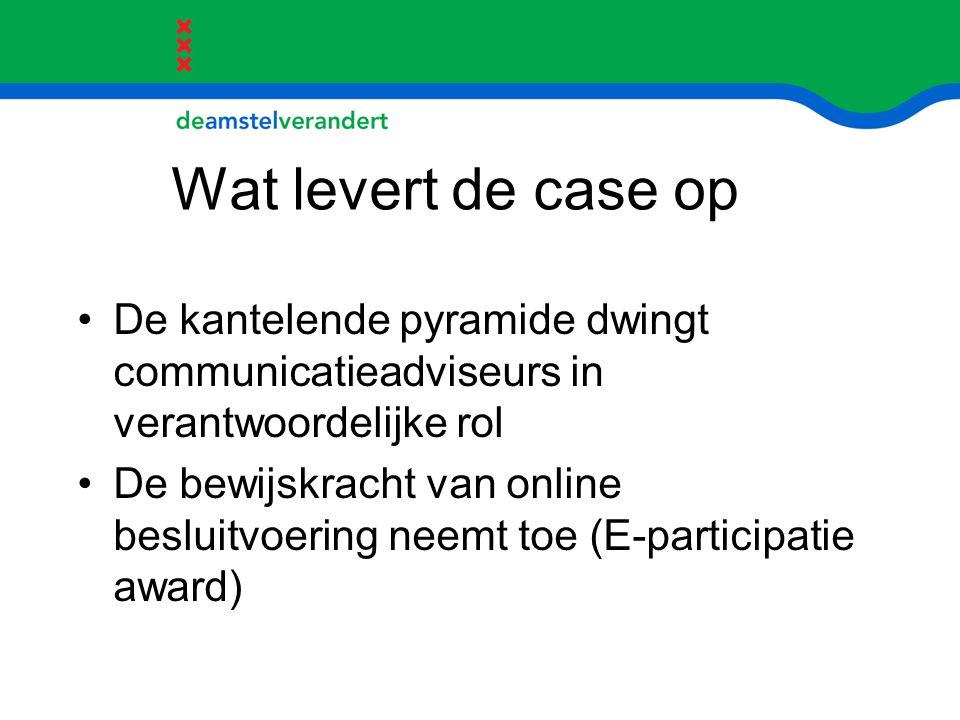 Wat levert de case op De kantelende pyramide dwingt communicatieadviseurs in verantwoordelijke rol.
