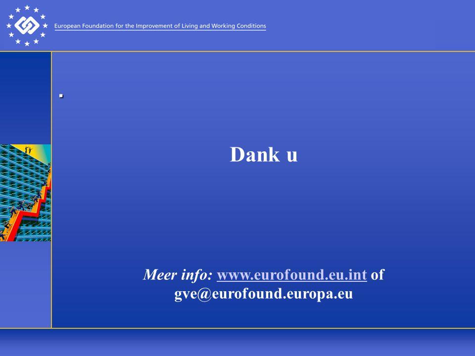 Meer info: www.eurofound.eu.int of gve@eurofound.europa.eu