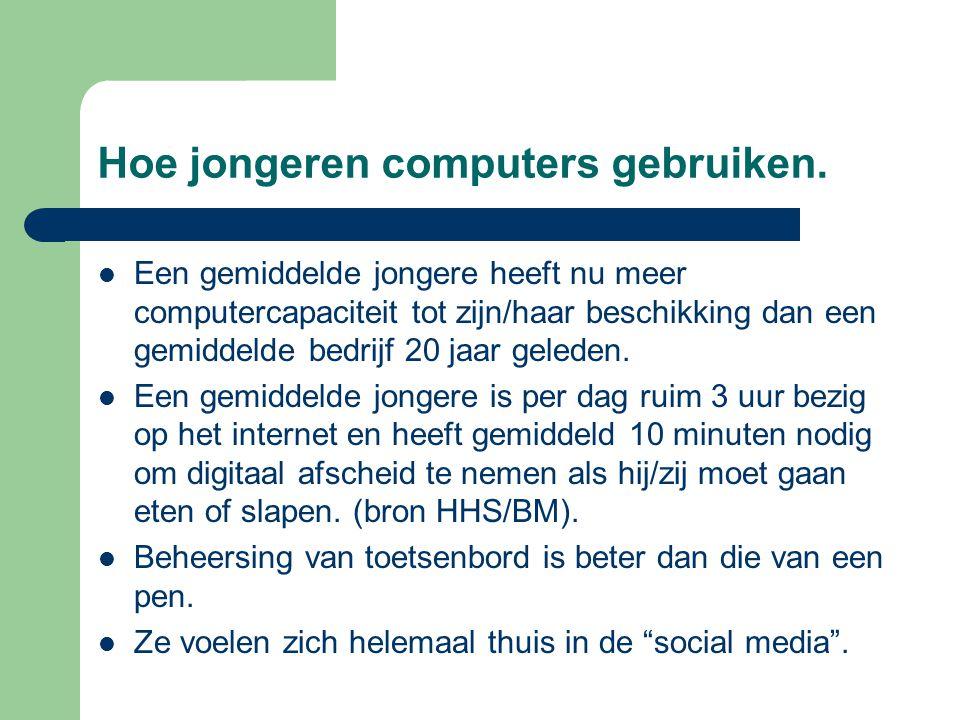 Hoe jongeren computers gebruiken.