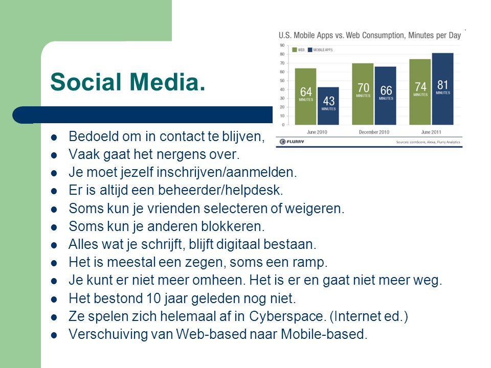 Social Media. Bedoeld om in contact te blijven,