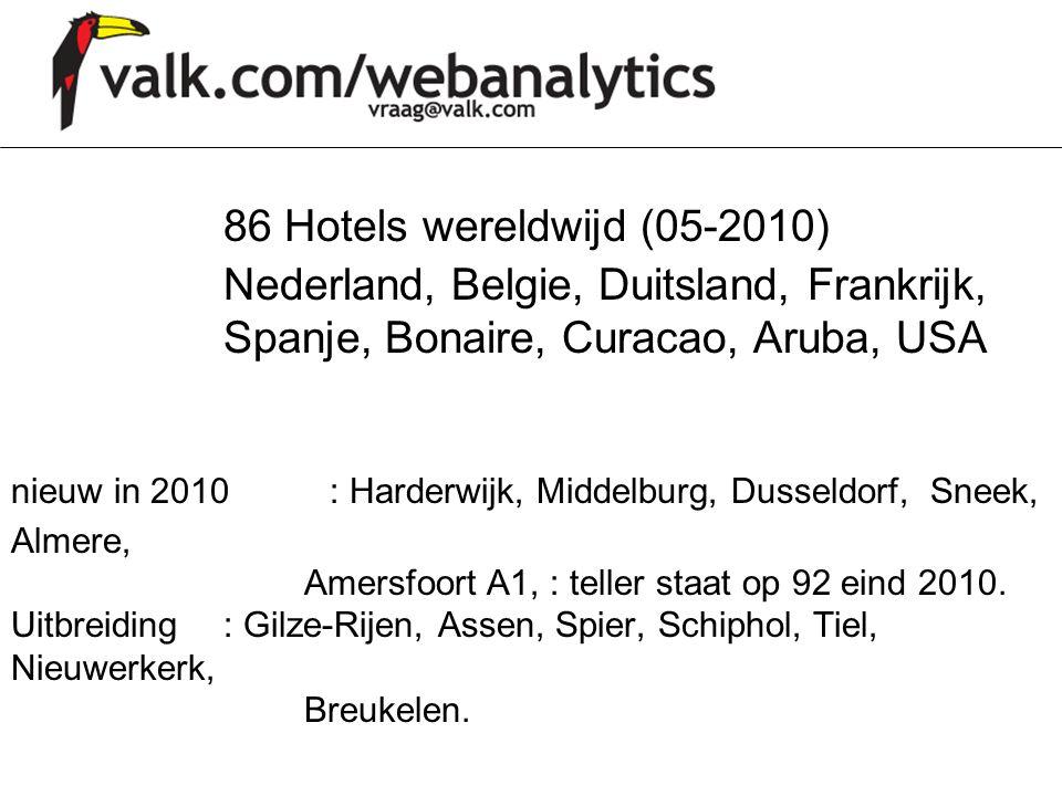 86 Hotels wereldwijd (05-2010) Nederland, Belgie, Duitsland, Frankrijk, Spanje, Bonaire, Curacao, Aruba, USA nieuw in 2010 : Harderwijk, Middelburg, Dusseldorf, Sneek, Almere, Amersfoort A1, : teller staat op 92 eind 2010.
