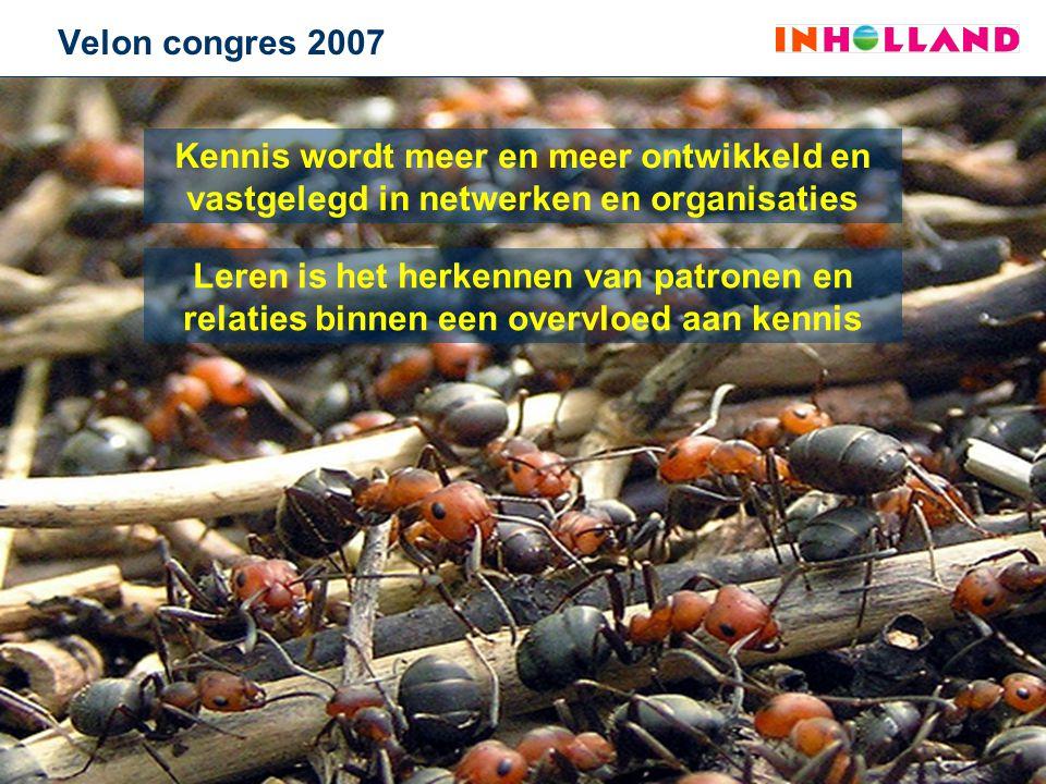 Velon congres 2007 Kennis wordt meer en meer ontwikkeld en vastgelegd in netwerken en organisaties.