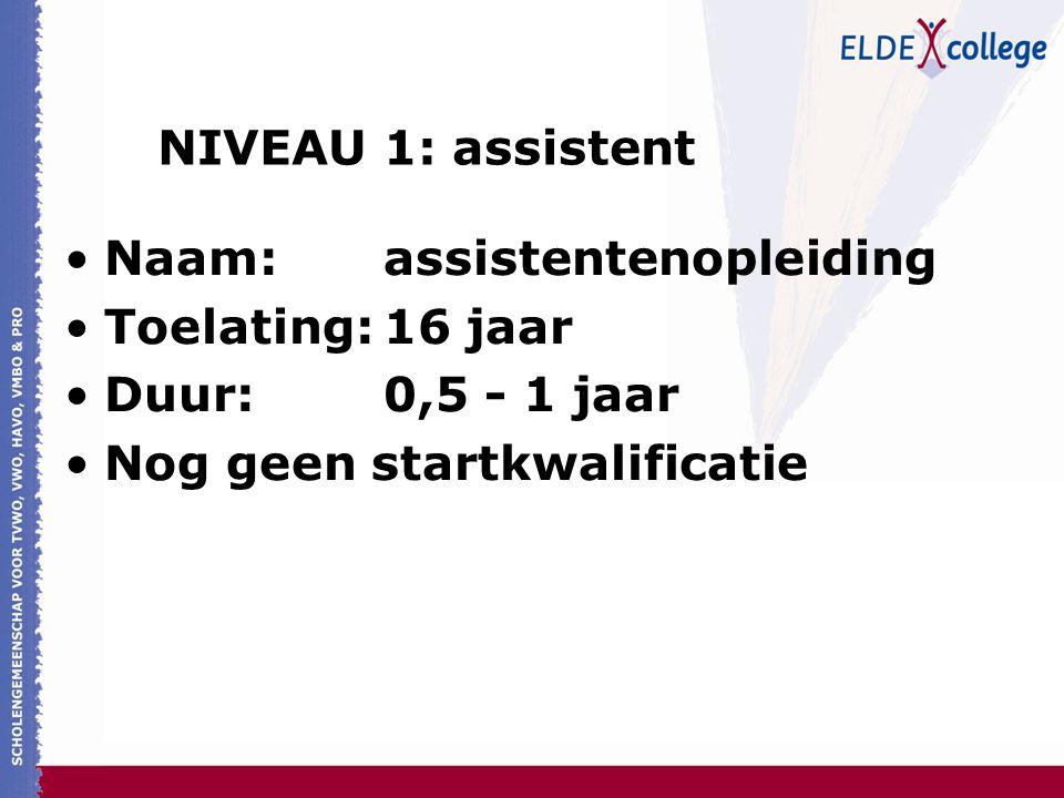 NIVEAU 1: assistent Naam: assistentenopleiding. Toelating: 16 jaar.