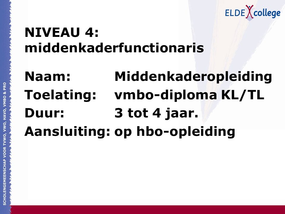 NIVEAU 4: middenkaderfunctionaris